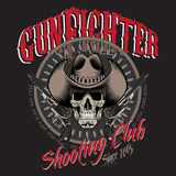 Design Gunfighter. Skull in cowboy hat, two crossed gun and bullets Stock Photos