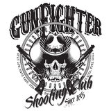 Design Gunfighter. Skull in cowboy hat, two crossed gun and bullets stock illustration