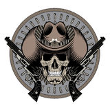 Design Gunfighter. Skull in cowboy hat, two crossed gun and bullets Stock Image