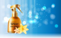 Design Hair Repair Spray Cosmetics Product  Template for Ads or Magazine Background. 3D Realistic Vector Iillustration Royalty Free Stock Images