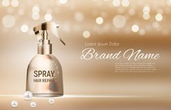 Design Hair Repair Spray Cosmetics Product  Template for Ads or Magazine Background. 3D Realistic Vector Iillustration Royalty Free Stock Photography