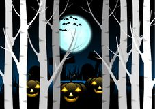 Free Design Halloween Background. Spooky Pumpkin With Moon And Dark Forest At Graveyard. Stock Image - 128029591