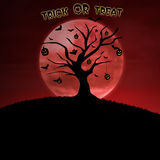 Design halloween card trick or treat on pumpkin tree Stock Image