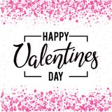 Design hand written lettering Happy Valentine`s Day on a white background with confetti and sparkles. Typography poster with calligraphy text, isolated on Stock Photography