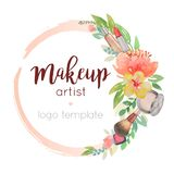Makeup artist watercolor logo template with flower decor. Design handdrawn cosmetic and floral elements Stock Photography