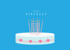 Design of happy birthday card with Birthday cake on blue backgrounds,Vector illustrations Royalty Free Stock Photo