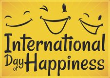 Design with Happy Faces to Celebrate International Day of Happiness, Vector Illustration. Yellow design with happy faces: one laughing, other one smiling and the royalty free illustration