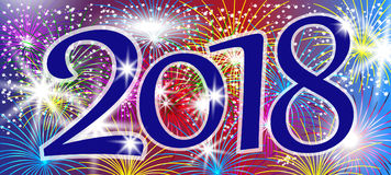 Design 2018 Happy New Year. Background with sparkling colorful f Royalty Free Stock Image