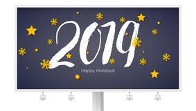 Design of Happy New Year poster with calligraphy and golden Christmas toys. Billboard with hand written lettering 2019. Gold snowflakes and stars. Vector royalty free illustration