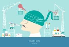 Design of health care concept,head bandage, illustration. Stock Photos
