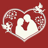 Design from the heart and contours of lovers Royalty Free Stock Photography