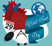 Design with Heart and Medical Tools for World Heart Day, Vector Illustration Stock Photos