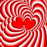 Design hearts twisting movement illusion background Stock Image