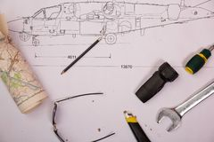 The Design of helicopter model. helicopter drawing royalty free stock photos