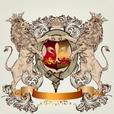 Design with heraldic elements and lions in vintage style Stock Image
