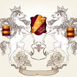 Design with heraldic horses   in vintage style Royalty Free Stock Photography