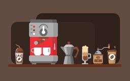 Coffee equipment banner. Vector illustration. Design of horizontal banner with coffee machine and coffe flat icons. Coffee equipment banner. Colorful template Stock Photography