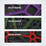 Design of horizontal web banners with intersecting geometric sha Stock Images