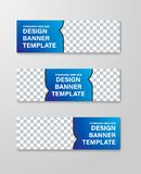 Design of horizontal web banners with place for photo and text with arrow. Vector template of standard size stock illustration