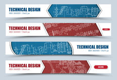 Design horizontal web banners with technical drawings. Stock Photography