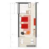 Design of Hotel Room. In a modern Hotel royalty free illustration