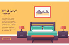 Design hotel room. Vector background. Banner of hotel room interior in flat style. Bedroom design. Background. Vector illustration Royalty Free Stock Images