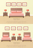 Design hotel room. Vector background. Set of two hotel rooms interior in flat style. Bedroom design. Vector illustration Stock Photography