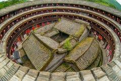 Aerial view of fujian tulou hakka roundhouse. stock photos