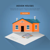 Design Houses Conceptual Web Banner in Flat Design. Design houses conceptual vector in flat design. Designing, buying and selling a new place for living Royalty Free Stock Images