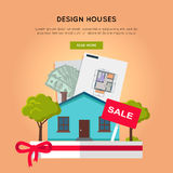 Design Houses Conceptual Web Banner in Flat Design Royalty Free Stock Photography
