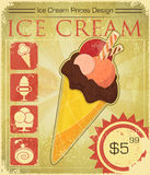 Design Ice cream price in grunge style Stock Photography