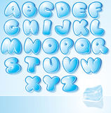 Design Ice Font. Artistic Ice Water Font - vector illustration for your christmas card design Royalty Free Stock Photo