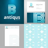 Design icon B element with Business card and paper template Royalty Free Stock Photo