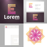 Design icon E element with Business card and paper template Stock Image