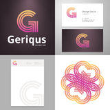 Design icon G element with Business card and paper template Stock Photos