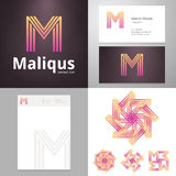 Design icon M element with Business card and paper template Royalty Free Stock Image