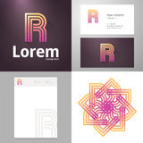 Design icon R element with Business card and paper template Royalty Free Stock Images