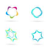 Design icons and elements isolated on white. Four circle design elements and icons isolated on white background. Vector Illustration Royalty Free Stock Photos