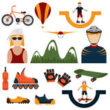 Design icons of extreme sport theme. Flat design icons of extreme sport theme Royalty Free Stock Photo