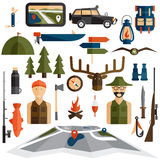 design icons of fishing and hunting theme Royalty Free Stock Images