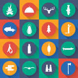 design icons of fishing and hunting theme. Vector Royalty Free Stock Images