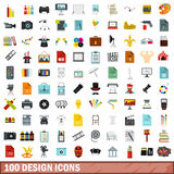 100 design icons set, flat style Stock Photos