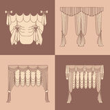 Design ideas realistic icons collection isolated vector illustration  curtains and draperies interior decoration Royalty Free Stock Photography