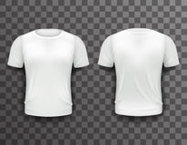 Design-Ikonen-transparenter Hintergrund T-Shirt Schablonen-Front Back Realistics 3d lokalisierte Vektorillustration Stockfoto