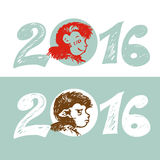 Design Illustration Concepts Symbol New Year, Monkey-2016.. Vector Illustration, eps-8 Royalty Free Stock Photo