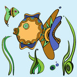 Design, illustration, fish. Fish, backgrounds, characters, cartoon Royalty Free Stock Photo