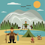 Design illustration with fisherman and hunter. Vector Stock Photos