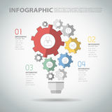 Design infographic template with abstract gear light bulb Stock Photo