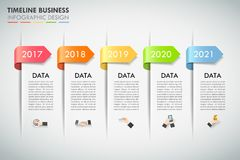 Design infographic template 5 options. Business concept Stock Photo