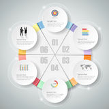 Design infographic template 6 steps for business concept. Vector illustration Stock Photo